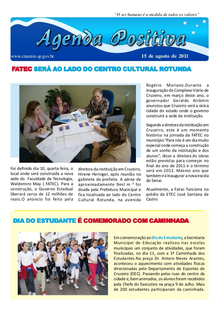 """""""O ser humano é a medida de todos os valores""""www.cruzeiro.sp.gov.br                                                       ..."""