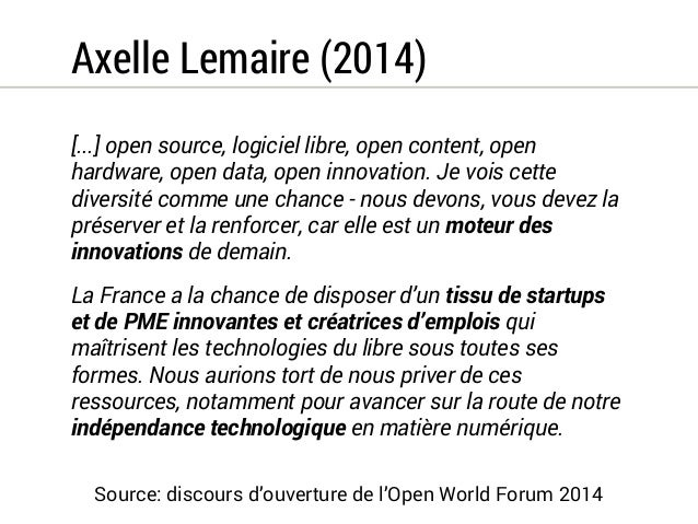 MinDef (2006)  2.6 Privilégier les logiciels libres à coût global, risques  et efficacité comparables.  Outre les avantage...