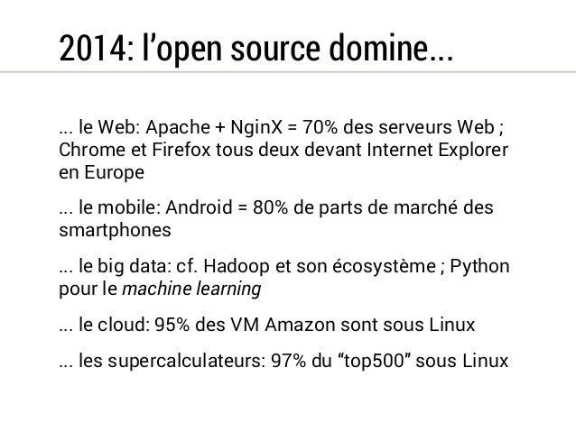 2014: l'open source domine...  ... le Web: Apache + NginX = 70% des serveurs Web ;  Chrome et Firefox tous deux devant Int...