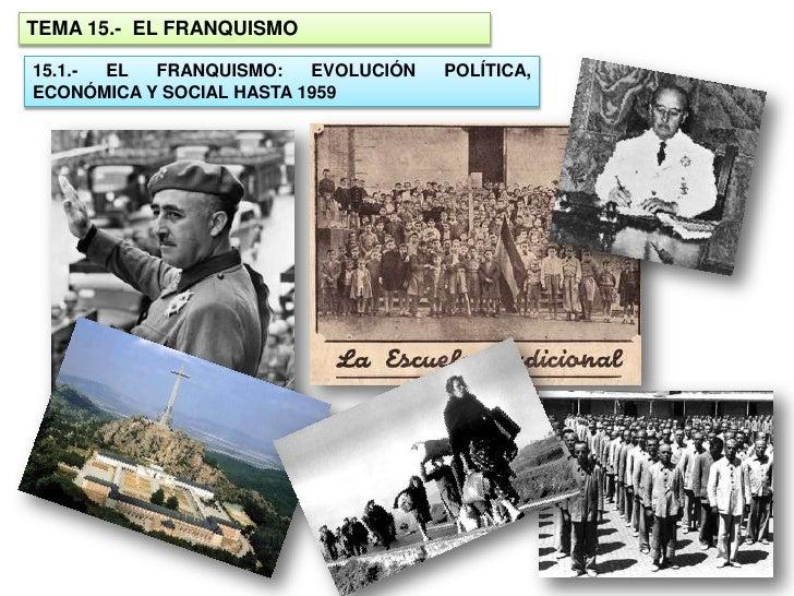 TEMA 15.- EL FRANQUISMO  15.1.- EL  FRANQUISMO:    EVOLUCIÓN   POLÍTICA, ECONÓMICA Y SOCIAL HASTA 1959