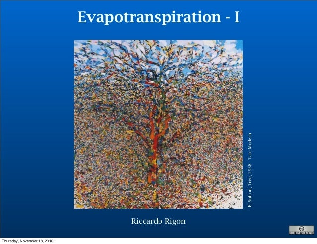 Evapotranspiration - I P.Sutton,Tree,1958-TateModern Riccardo Rigon Thursday, November 18, 2010