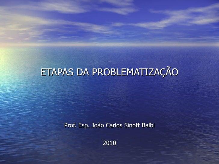 ETAPAS DA PROBLEMATIZAÇÃO Prof. Esp. João Carlos Sinott Balbi 2010