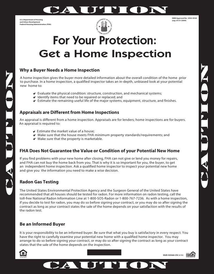 HUD Home Inspection Flyer. CAUTION .