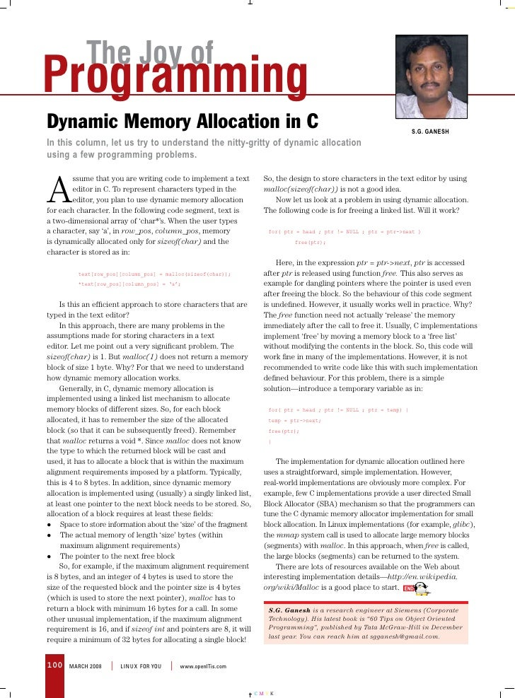 The Joy of Programming Dynamic Memory Allocation in C                                                                     ...