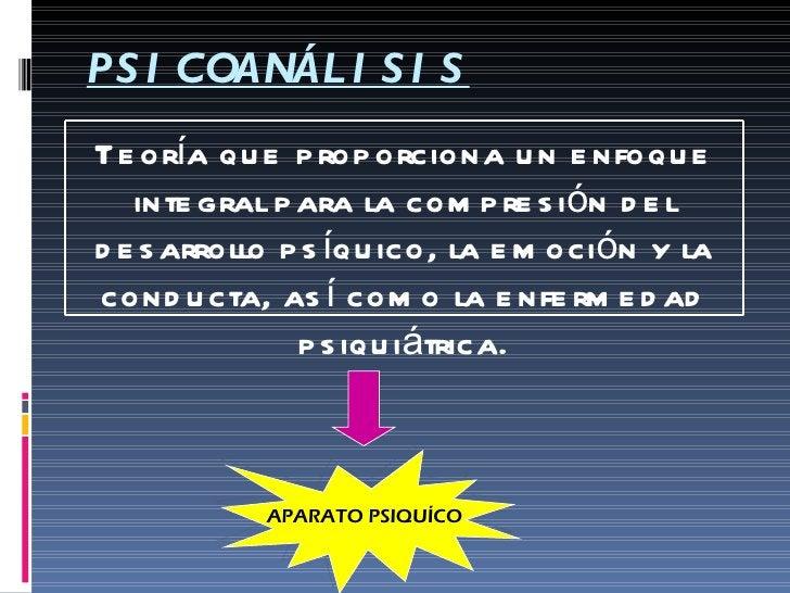PSICOANÁLISIS APARATO PSIQUÍCO Teoría que proporciona un enfoque integral para la compresión del desarrollo psíquico, la e...