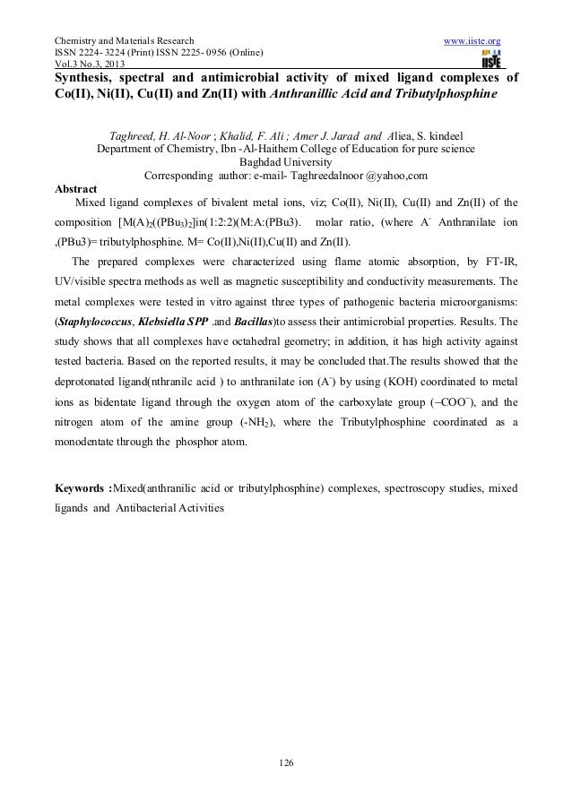Chemistry and Materials Research                                                    www.iiste.orgISSN 2224- 3224 (Print) I...