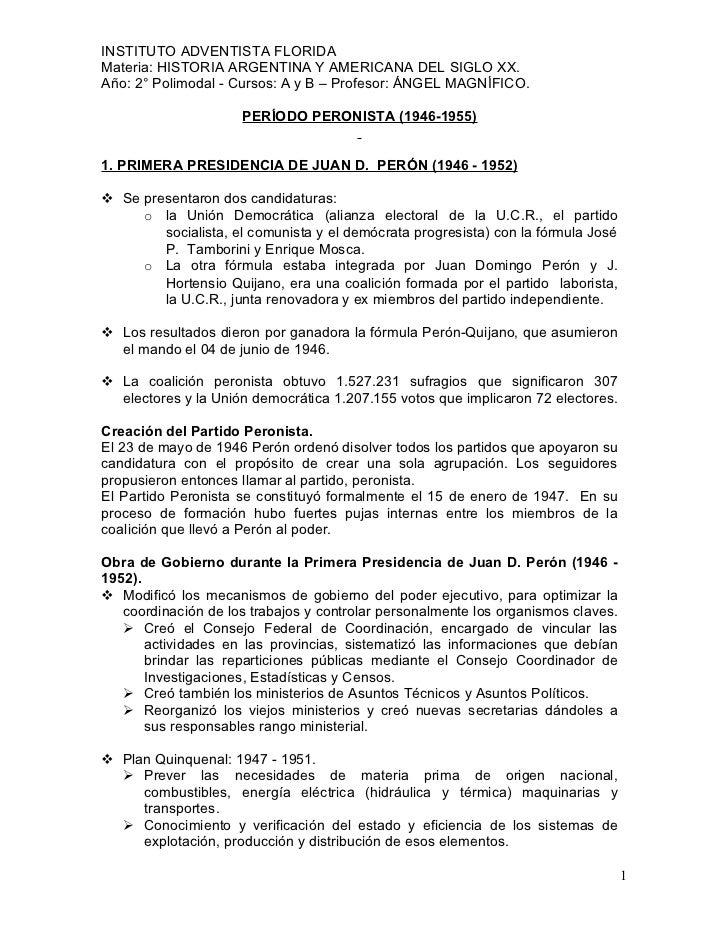 INSTITUTO ADVENTISTA FLORIDA Materia: HISTORIA ARGENTINA Y AMERICANA DEL SIGLO XX. Año: 2° Polimodal - Cursos: A y B – Pro...