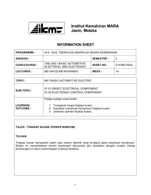 Institut Kemahiran MARA                                           Jasin, Melaka                               INFORMATION ...