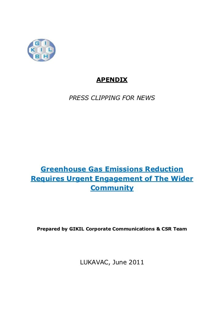 APENDIX<br />PRESS CLIPPING FOR NEWS<br />Greenhouse Gas Emissions Reduction Requires Urgent Engagement of The Wider Commu...