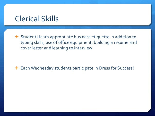 clerical skills resumes
