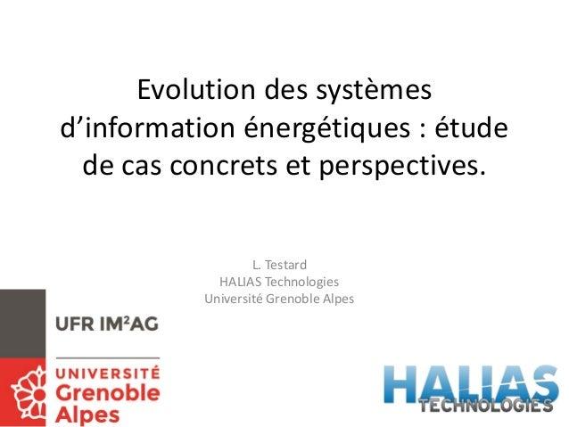 Evolution des systèmes d'information énergétiques : étude de cas concrets et perspectives. L. Testard HALIAS Technologies ...
