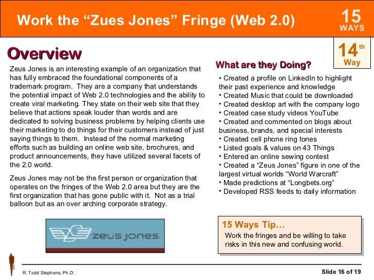 "Work the ""Zues Jones"" Fringe (Web 2.0) 14 Way th Overview Zeus Jones is an interesting example of an organization that has..."