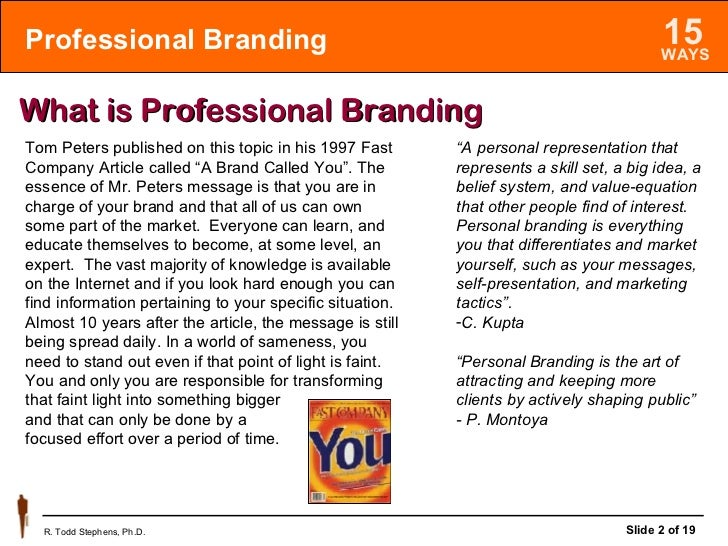 15 Ways to Professionally Brand You Slide 2