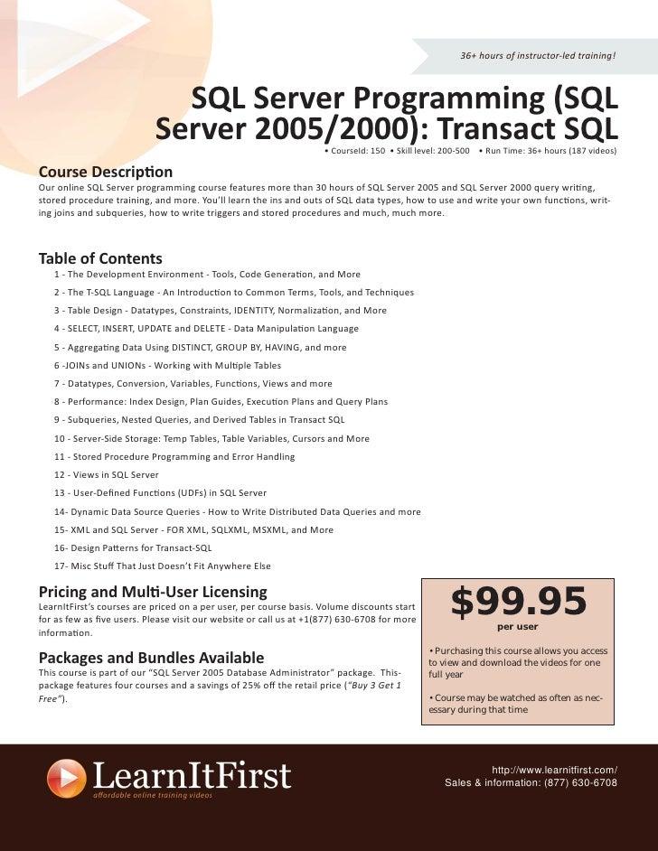 36+ hours of instructor-led training!                                 SQL Server Programming (SQL                         ...