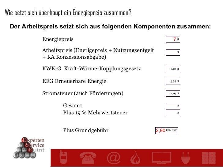 Wie setzt sich überhaupt ein Energiepreis zusammen? Der Arbeitspreis setzt sich aus folgenden Komponenten zusammen: Energi...