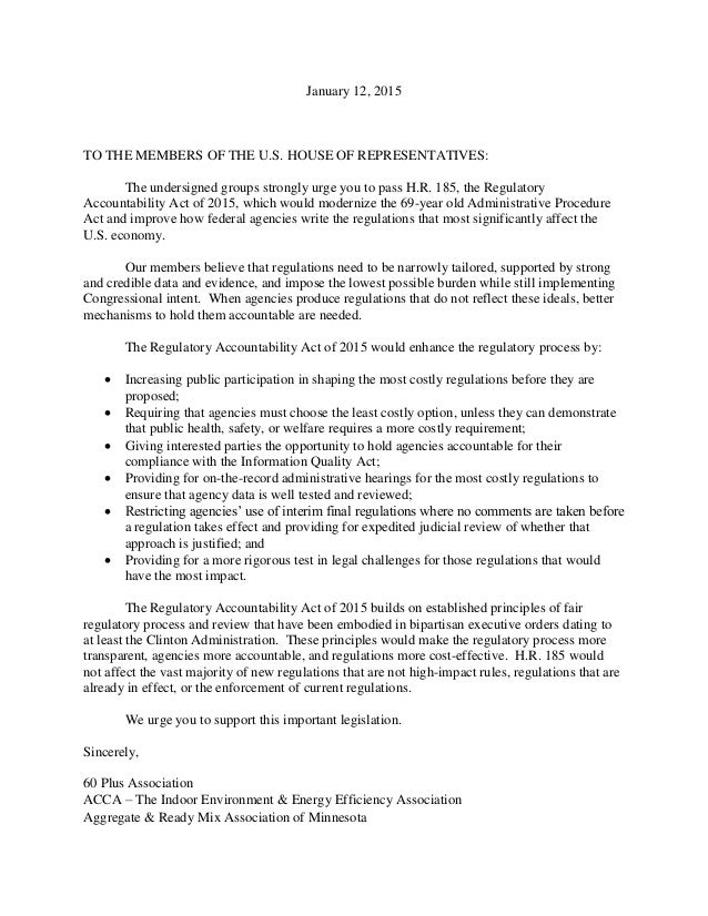 January 12, 2015 TO THE MEMBERS OF THE U.S. HOUSE OF REPRESENTATIVES: The undersigned groups strongly urge you to pass H.R...