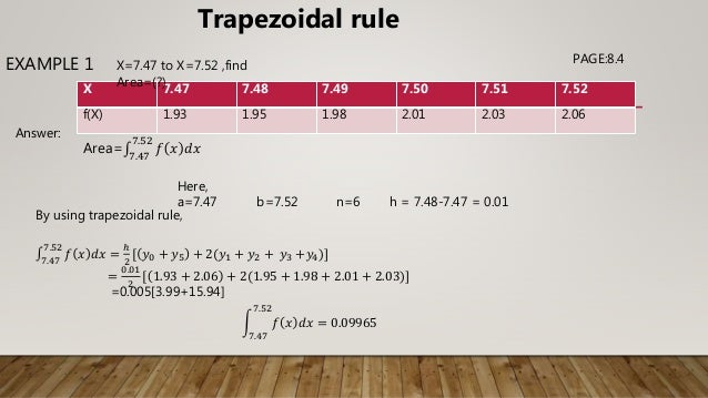 Trapezoidal and simpson's 1/3 and 3/8 rule.