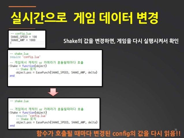 25 실시간으로 게임 데이터 변경 Shake의 값을 변경하면, 게임을 다시 실행시켜서 확인 함수가 호출될 때마다 변경된 config의 값을 다시 읽음!!