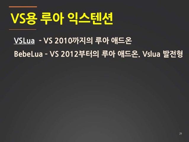 29 VS용 루아 익스텐션 VSLua - VS 2010까지의 루아 애드온 BebeLua – VS 2012부터의 루아 애드온. Vslua 발전형