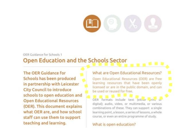 OER Guidance for Schools (presentation 29th January 2015, Leicester) Björn Haßler Creative Commons Attribution 4.0. This p...