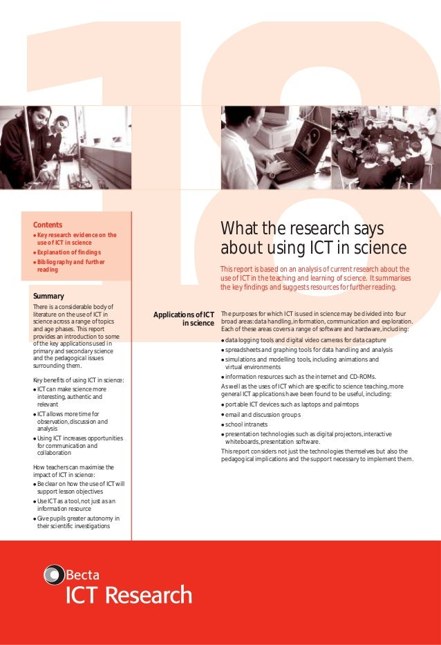 18 What the research says about using ICT in science  Contents ●  Key research evidence on the use of ICT in science  ●  E...