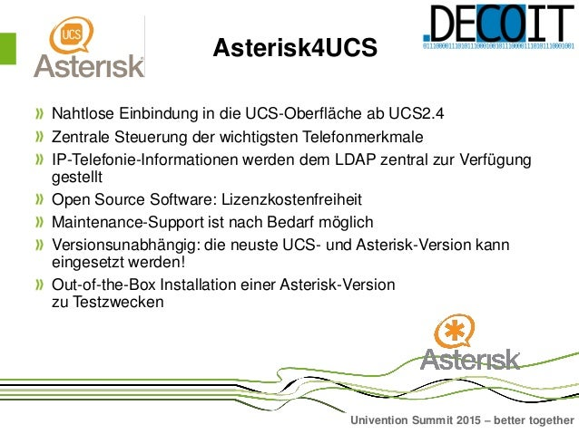Asterisk4UCS Präsentation auf dem Univention Summit 2015 Slide 3