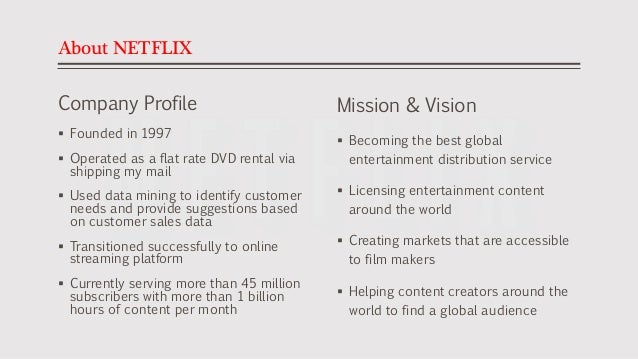 customer analysis of netflix Free essay: make a customer analysis and segment the market what impact  does your analysis have on the current business model of the.