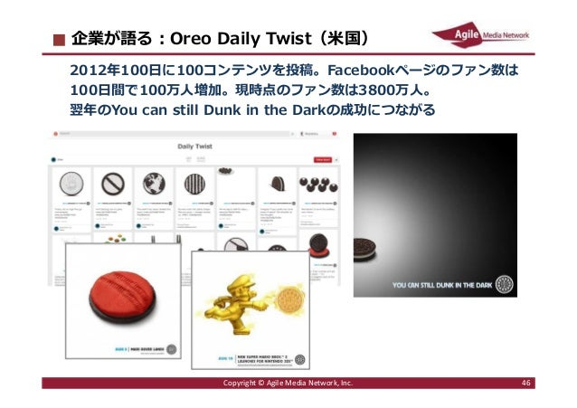 2016/6/9 46 企業が語る︓Oreo Daily Twist(米国) 2012年100日に100コンテンツを投稿。Facebookページのファン数は 100日間で100万人増加。現時点のファン数は3800万人。 翌年のYou can s...