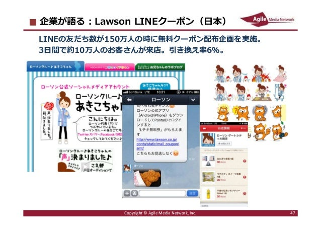 2016/6/9 47 企業が語る︓Lawson LINEクーポン(日本) LINEの友だち数が150万人の時に無料クーポン配布企画を実施。 3日間で約10万人のお客さんが来店。引き換え率6%。 Copyright © Agile Media ...