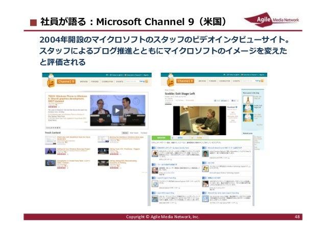 2016/6/9 48 社員が語る︓Microsoft Channel 9(米国) 2004年開設のマイクロソフトのスタッフのビデオインタビューサイト。 スタッフによるブログ推進とともにマイクロソフトのイメージを変えた と評価される Copyr...