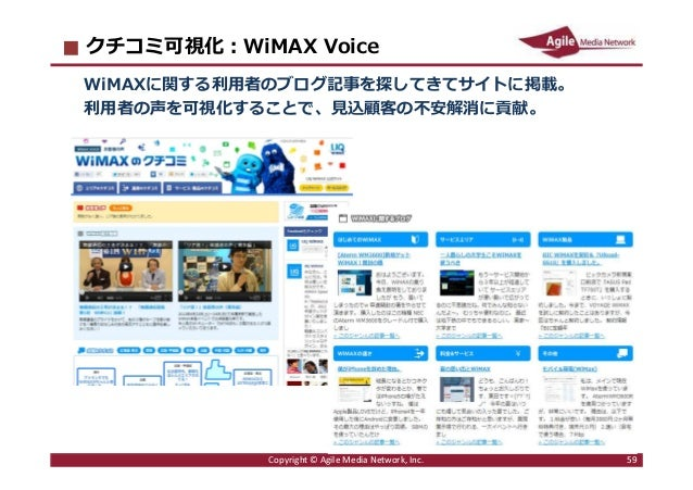 2016/6/9 59 クチコミ可視化︓WiMAX Voice WiMAXに関する利⽤者のブログ記事を探してきてサイトに掲載。 利⽤者の声を可視化することで、⾒込顧客の不安解消に貢献。 Copyright © Agile Media Netwo...