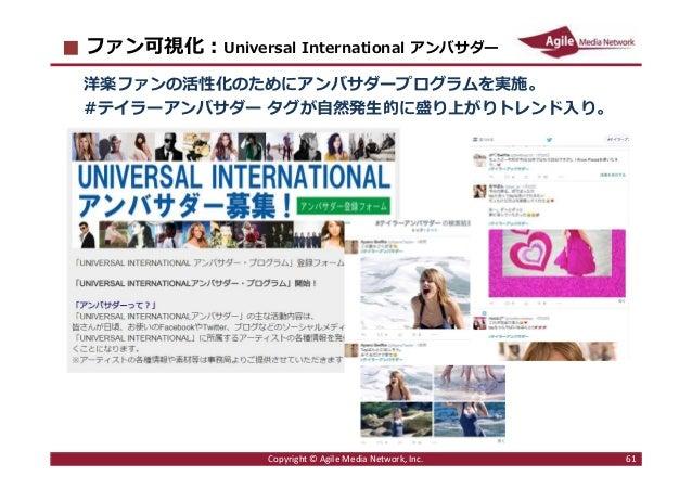 2016/6/9 61 ファン可視化︓Universal International アンバサダー 洋楽ファンの活性化のためにアンバサダープログラムを実施。 #テイラーアンバサダー タグが自然発生的に盛り上がりトレンド入り。 Copyright...
