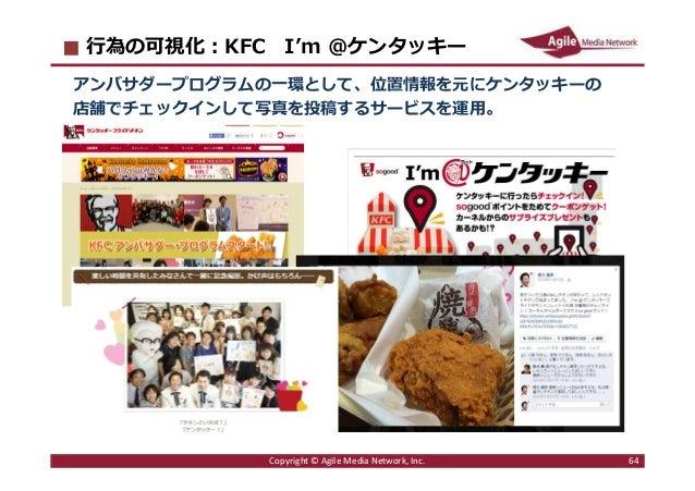 2016/6/9 64 ⾏為の可視化︓KFC I'm @ケンタッキー アンバサダープログラムの一環として、位置情報を元にケンタッキーの 店舗でチェックインして写真を投稿するサービスを運用。 Copyright © Agile Media Net...
