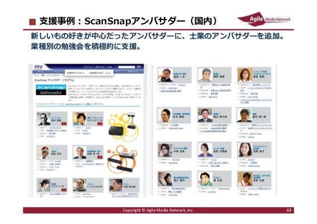 2016/6/9 68 ⽀援事例︓ScanSnapアンバサダー(国内) 新しいもの好きが中心だったアンバサダーに、士業のアンバサダーを追加。 業種別の勉強会を積極的に支援。 Copyright © Agile Media Network, In...