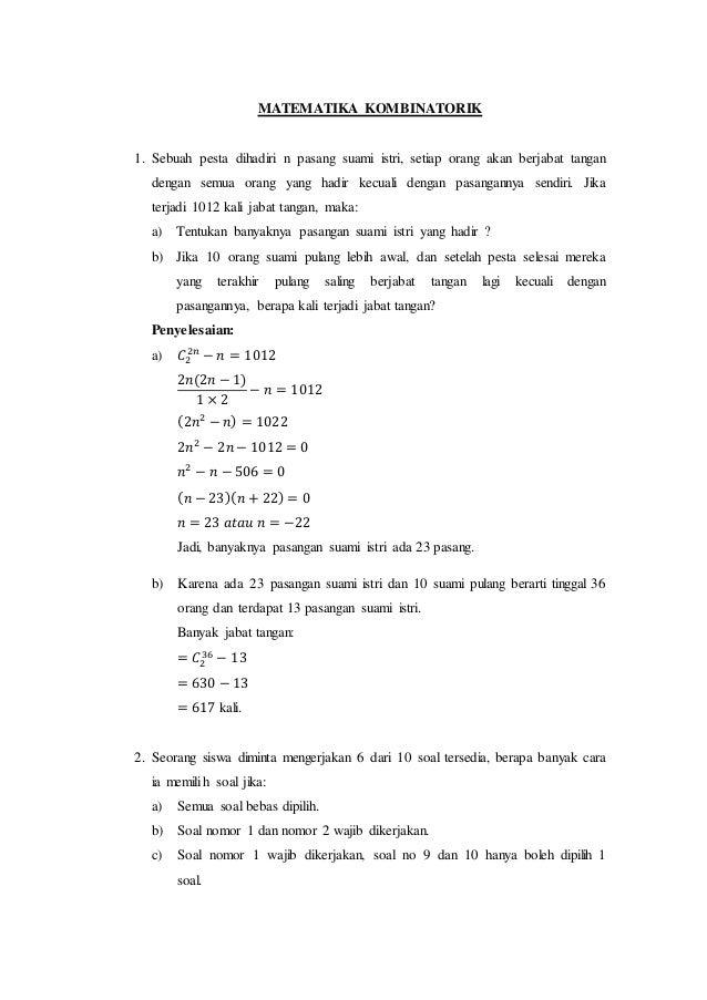 Kumpulan Soal Dan Pembahasan Matematika Kombinatorik Relasi Biner D