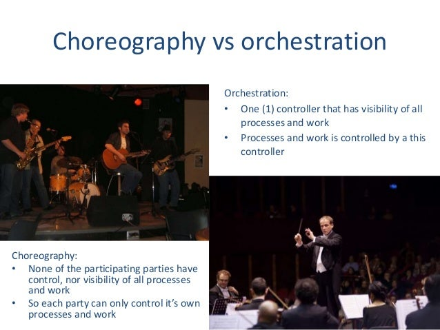 Choreography vs orchestration Choreography: • None of the participating parties have control, nor visibility of all proces...