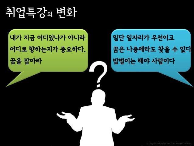 ⓒ Copyright Doyoung Kwon 2015 All Rights Reserved. 취업특강의 변화 내가 지금 어디있나가 아니라 어디로 향하는지가 중요하다. 꿈을 잡아라 일단 일자리가 우선이고 꿈은 나중에라도 찾...