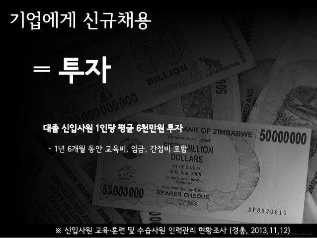ⓒ Copyright Doyoung Kwon 2015 All Rights Reserved. 투자 대졸 신입사원 1인당 평균 6천만원 투자 - 1년 6개월 동안 교육비, 임금, 간접비 포함 ※ 신입사원 교육·훈련 및 수습...