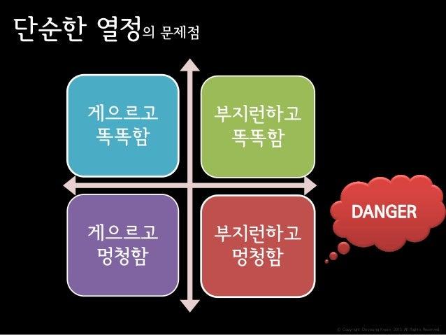 ⓒ Copyright Doyoung Kwon 2015 All Rights Reserved. 단순한 열정의 문제점 게으르고 똑똑함 부지런하고 똑똑함 게으르고 멍청함 부지런하고 멍청함 DANGER