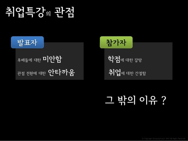 ⓒ Copyright Doyoung Kwon 2015 All Rights Reserved. 후배들에 대한 미안함 관점 전환에 대한 안타까움 취업특강의 관점 발표자 학점에 대한 갈망 취업에 대한 간절함 참가자 그 밖의 이...