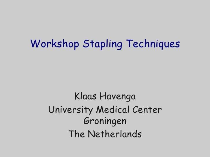 Workshop Stapling Techniques Klaas Havenga University Medical Center Groningen The Netherlands