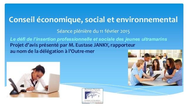 Conseil économique, social et environnemental Séance plénière du 11 février 2015 Projet d'avis présenté par M. Eustase JAN...