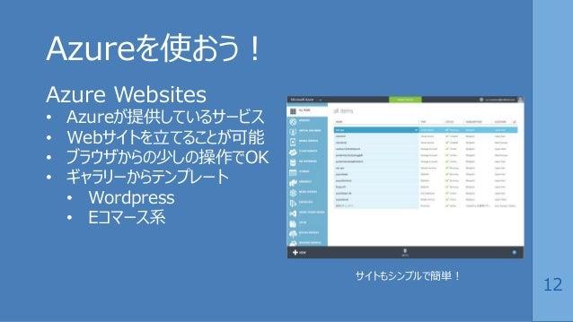 12 Azureを使おう! Azure Websites • Azureが提供しているサービス • Webサイトを立てることが可能 • ブラウザからの少しの操作でOK • ギャラリーからテンプレート • Wordpress • Eコマース系 サ...