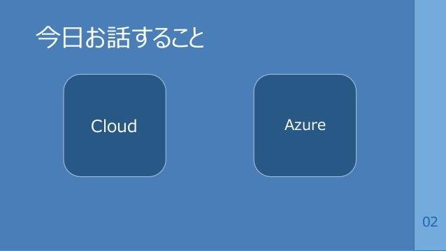 02 今日お話すること Cloud Azure