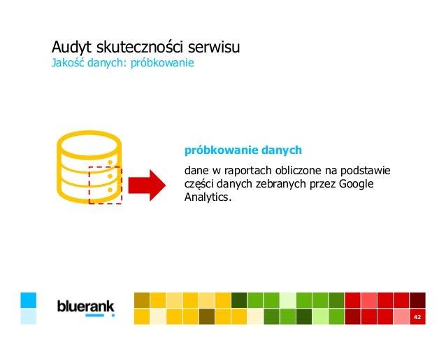 Audyt skuteczności serwisu próbkowanie danych dane w raportach obliczone na podstawie części danych zebranych przez Google...