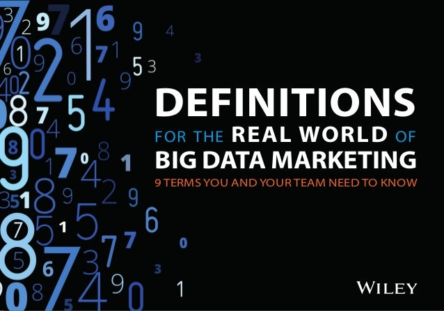 DEFINITIONS for the REAL WORLD of BIG DATA MARKETING 9 TERMS YOU AND YOUR TEAM NEED TO KNOW