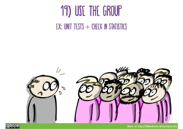 More at http://Slideshare.net/proyectalis 19) use the group ex: unit tests + check in statistics