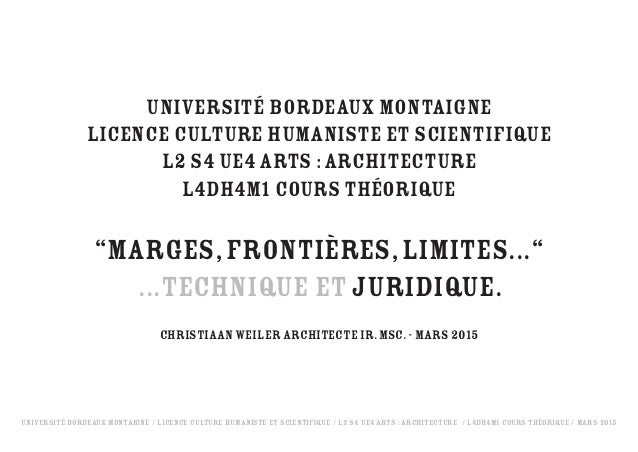 Université Bordeaux Montaigne / Licence Culture Humaniste et Scientifique / L2 S4 UE4 Arts : Architecture / L4DH4M1 Cours ...