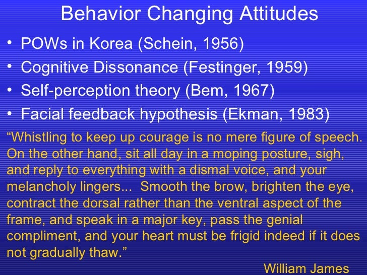 Behavior Changing Attitudes <ul><li>POWs in Korea (Schein, 1956) </li></ul><ul><li>Cognitive Dissonance (Festinger, 1959) ...