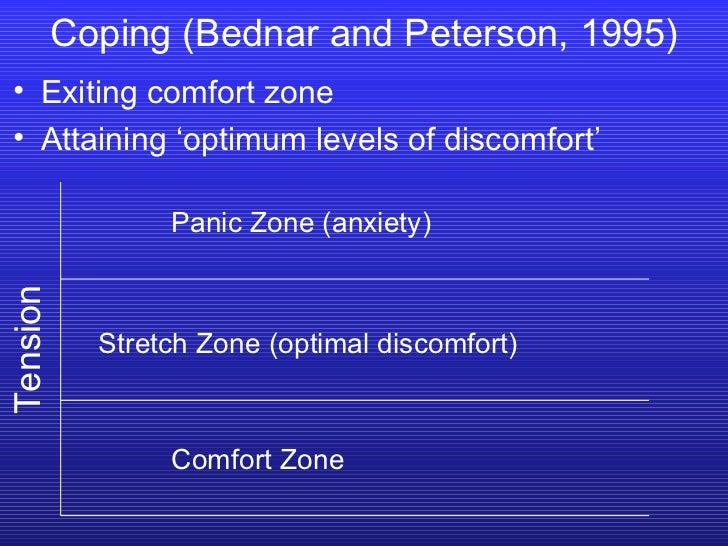 <ul><li>Exiting comfort zone </li></ul><ul><li>Attaining 'optimum levels of discomfort' </li></ul>Coping (Bednar and Peter...